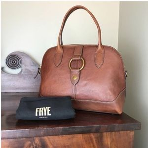 Frye Ring Dome Brown Cognac Leather Handbag